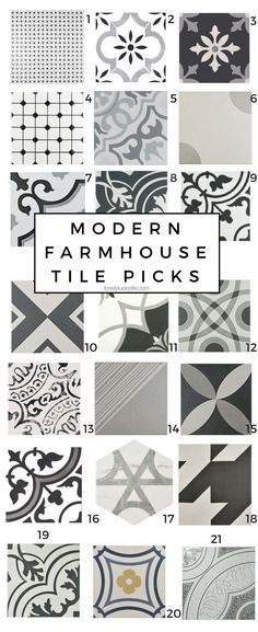 Modern Farmhouse Patterned Tile picks to add a bit of vintage farmhouse flair to your floors. shop these affordable Modern Farmhouse Patterned Tile picks! Tile Patterns, Modern Room, Farmhouse Bathroom, Farmhouse Style Kitchen, Room Tiles, Farmhouse Flooring, Modern Farmhouse, Modern Farmhouse Bathroom, Laundry Room Tile