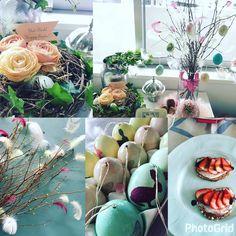 イースターワークショップで作ったものたち。  ・イースターツリー  ・鳥の巣風アレンジ  ・スモーブローは2016年12月に習ったマスカルポーネチーズとイチゴの組み合わせ  ・たまごのデコパージュもしました    #花のある暮らし #イースター #北欧 #北欧イースター #Påsk #Easter #EasterDecoration #PåskDekoration #Foodingレシピ #Flowers #Blommor