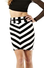 A lovely addition to any closet, this skirt features two tone stripes with the perfect length to feature your sexy legs. You'll certainly have heads turning once you slip into this magnificent skirt.Belt Included- Polyester/Rayon/Spandex- Hand Wash Cold- Made in USA