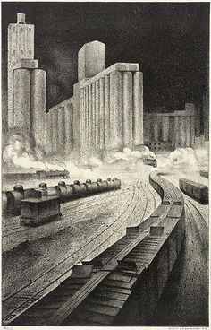 """Louis Lozowick (Russian born American, 1892 – 1973) was a painter and printmaker. """"Granaries to Babylon"""", 1933 ~ lithograph"""