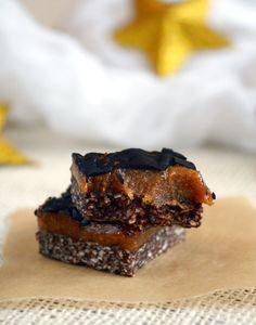 sugar-free, gluten-free, vegan cocoa caramel bars recipe from Leanne vogel