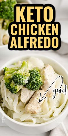 This easy keto dinner recipe is SO good! If you miss chicken alfredo, then you are going to be thrilled by how good this Keto Chicken Alfredo recipe tastes! It has ALL the flavors of the original without all the carbs. Creamy, rich alfredo sauce, chicken, broccoli, and keto noodles come together in this recipe for total bliss. Great for a low carb dinner on the low carb diet too! Healthy Low Carb Recipes, Low Carb Dinner Recipes, Keto Dinner, Alfredo Recipe, Alfredo Sauce, Low Carb Meal Plan, Low Carb Diet, Beef Recipes, Chicken Recipes