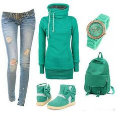 Very cute. I love the aqua green color with the ripped jeans