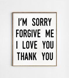 I'm sorry. Forgive me. I love you. Thank you. por Byoliart en Etsy