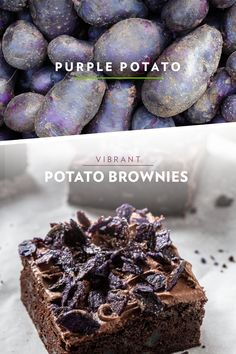 Vibrant, versatile, rich in texture, and delicious in taste. These are all words to describe the purple potato, which makes these gluten-free brownies moist and delicious! Vegan Brownie, Brownie Bar, Brownie Recipes, No Bake Desserts, Healthy Desserts, Dessert Recipes, Potato Bar, Purple Potatoes, Gluten Free Brownies