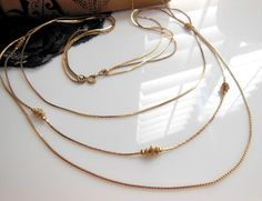 Vintage Graduated Gold Tone Triple Chain Bead Accent by erisjewels