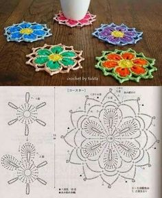 Crochet Coaster Pattern, Granny Square Crochet Pattern, Crochet Flower Patterns, Crochet Diagram, Doily Patterns, Crochet Chart, Crochet Patterns Amigurumi, Crochet Motif, Crochet Flowers