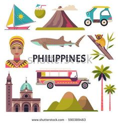 Vector collection of Philippine culture and nature images, including Fort Santiago, portrait of a woman, tricycle, jeepney and a whale shark. Isolated on white. Philippine Map, Fort Santiago, Pastel Galaxy, Happy Little Trees, Jeepney, Philippines Culture, Filipino Culture, Nature Illustration, Nature Images