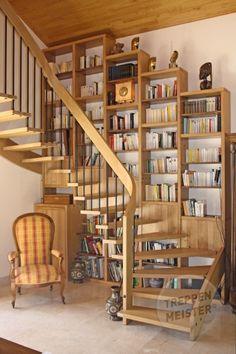 Escalier bibliothèque, escalier suspendu système Treppenmeister, #madeinfrance