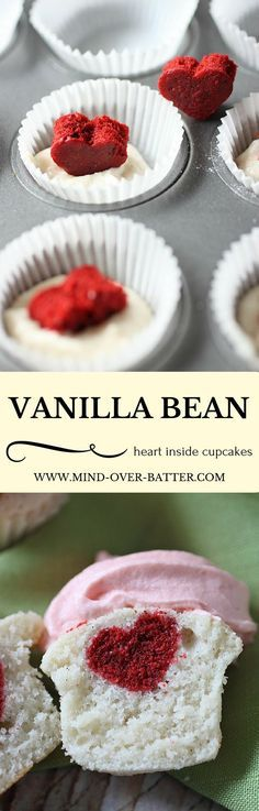 Moist Mini Vanilla Bean Cupcakes with a tiny Red Velvet Heart surprise inside!! Is your heart swelling with love? http://www.mind-over-batter.com