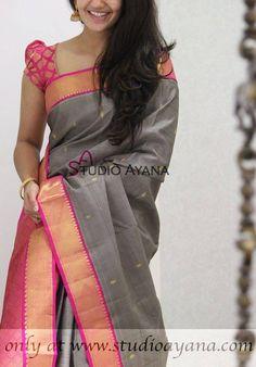 Latest exclusive collection of kanjivaram benaras sarees at studioayana Simple Sarees, Trendy Sarees, Fancy Sarees, Saree Blouse Neck Designs, Blouse Patterns, Indian Attire, Indian Outfits, Indian Dresses, Indian Wear