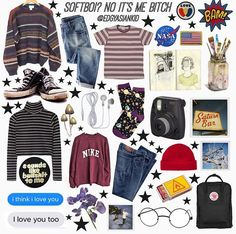 - ̗̀  Pinterest// Doxie634̗̀ Soft Grunge Outfits, Grunge Fashion, 90s Fashion, Fashion Outfits, Womens Fashion, Art Hoe Aesthetic, Aesthetic Clothes, Ootds, Cute Outfits
