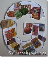 G is for groceries...letter-sound correspondence. This is such a good idea for teaching letters. And all you need is a stack of old magazines.