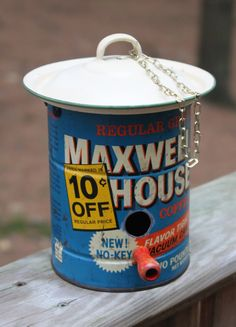 Vintage Coffee Can Birdhouse