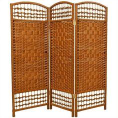 Oriental Fiber Weave Room Divider with 3 Panel in Dark Beige