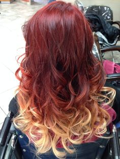 red to blonde ombre - Recherche Google                                                                                                                                                      More