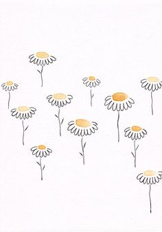 yellow drawing flowers drawings simple sketch doodle ink watercolor flower daisy doodles journal floral daisies
