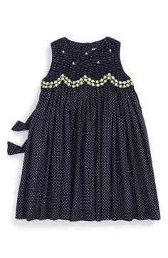 Free shipping and returns on Luli & Me Dot Print Sleeveless Dress (Baby Girls) at Nordstrom.com. Bright daisy-chain embroidery highlights the smocked bodice of an irresistible sleeveless dress in a crisp dot print.