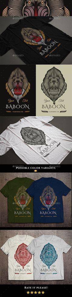 Baboon T-shirt Vector Illustration #design Download: http://graphicriver.net/item/baboon-tshirt-design/13575678?ref=ksioks