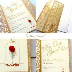 The paper company I used has these invitations- you would just give your wording. Amazing beauty and the beast wedding invitations Beauty And The Beast Wedding Invitations, Beauty And The Beast Wedding Theme, Disney Wedding Invitations, Quince Invitations, Wedding Beauty, Wedding Disney, Invites, Disney Weddings, Cinderella Wedding