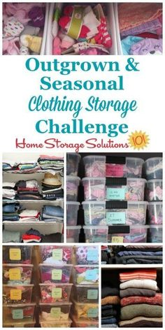 Here's how to deal with the most common clothing storage issues, including both kids outgrown clothes and the seasonal switch of garments twice a year {part of the 52 Week Organized Home Challenge on Home Storage Solutions 101} #ClothingStorage #ClothesStorage #SeasonalClothingSwitch
