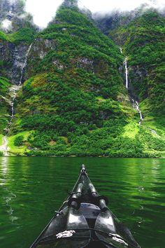 Kayaking in Nærøyfjord, Norway