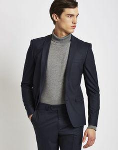 the idle man mens suit jacket in skinny fit navy men