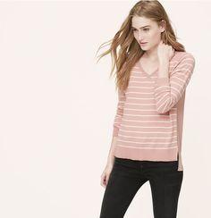 Petite Striped Mixed Media Sweater | Loft