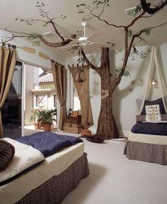 20 Amazing Bedroom Designs You'll Hunger For Tropical Bedroom Furniture Forest Bedroom, Tree Bedroom, Magical Bedroom, Cat Bedroom, Fantasy Bedroom, Tropical Bedrooms, Teenage Room, Mediterranean Decor, Mediterranean Architecture