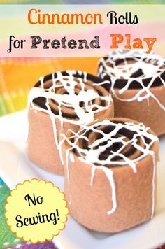 Here's an easy DIY pretend food you can make for your kids that doesn't involve any sewing, and the kids can help make them too! These pretend cinnamon rolls are simple and very inexpensive to make. They are sure to inspire plenty of imaginative play time Pretend Food, Pretend Play, Diy For Kids, Crafts For Kids, Supermarket, Dramatic Play Area, Felt Play Food, Felt Diy, Felt Crafts