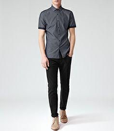 Mens Denim Short Sleeve Chambray Shirt - Reiss Kitts