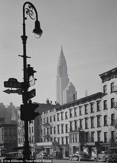 To the right, a photograph taken at the interaction of Second Avenue and 50th Street shows the Chrysler Building standing tall, not yet surrounded by other midtown high-rises