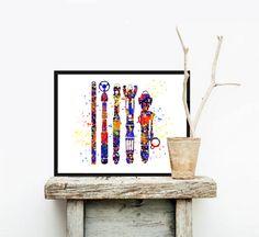 Sonic Screwdriver - Dr - Archivierung Nerd Geek Kunst - Aquarell-Malerei - Dr, die Print - Home Decor Wand hängen Tardis Wall Art inspiriert hat