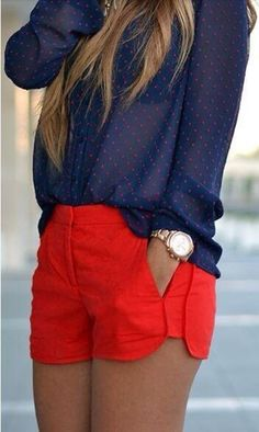 T-shirt: pants shorts polka dots button down blue blue top sheer blouse jewels red shorts top red