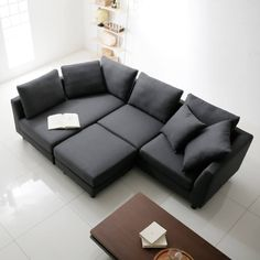 4人掛けカウチソファ オットマン付 ファブリック 組み換え自由 [幅267] Couch, Furniture, Home Decor, Settee, Decoration Home, Sofa, Room Decor, Home Furnishings, Sofas