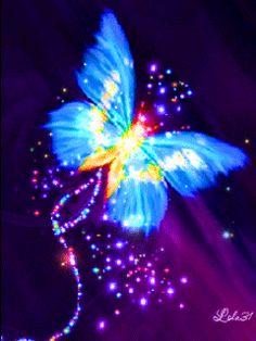 Blue neon butterfly