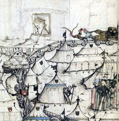 Encampment with wagons, the Wolfegg Housebook, after 1480