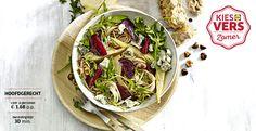 Recept voor Volkoren spaghetti met geroosterde bietjes, gorgonzola, peer en nootjes #Lidl #Zomer