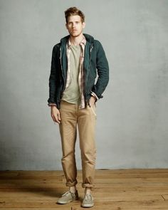 fall layering inspriation with a flannel shirt green hoody tan chinos gray  t shirt no show fd12e39103