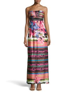 Strapless Floral-Print Satin Maxi Dress by Sue Wong at Neiman Marcus.