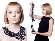 3D printed necklaces in polished black nylon, using Kinematics : nervous system