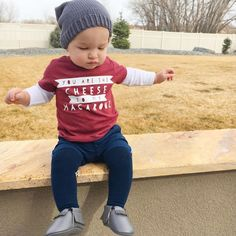 The little daredevil wanted to jump off 🙄 Shirt: @lavenderandlaceco (LALFAMILY and mention us) Socks: @socklingssocks (Welcome! on your first order) Beanie: @chipmunkandcompany  Moccs: @sweetnswag