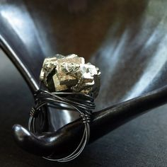 shop clementine | pyrite and oxidised sterling silver ring