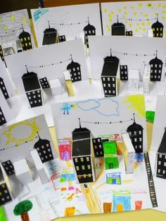pop-up building art project inspiration for kids Projects For Kids, Art Projects, Crafts For Kids, Arts And Crafts, Paper Crafts, Atelier Architecture, Ecole Art, Elementary Art, Teaching Art