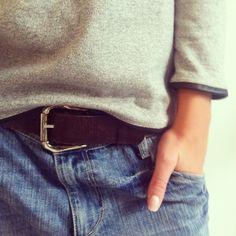 gray sweater + belted denim.