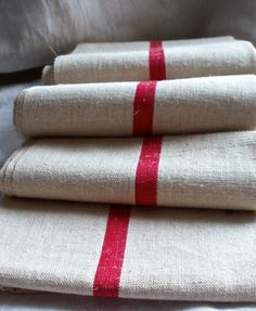 Vintage french torchon tea towels from BrocanteArt