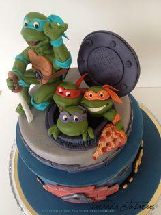 ninja turtles cake, birthday fondant cake