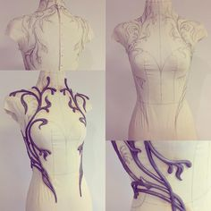 orking on a new dress design, shaping flower vines around the torso. First sew a fitting form for the mannequin, then hand draw the shape