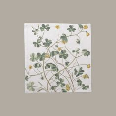 """Dinner Napkins - Clover  Cloth napkins – set of 4. Beautiful cotton napkins decorated with a vintage image of clover in greens and yellows. Size: 12""""x12"""", made of 100% grade A woven cotton and are machine washable.  http://vintagehomedecor.blogspot.ca/"""