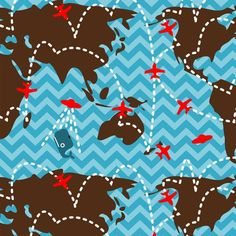 Flight Plan fabric by thirdhalfstudios for sale on Spoonflower - custom fabric, wallpaper and wall decals